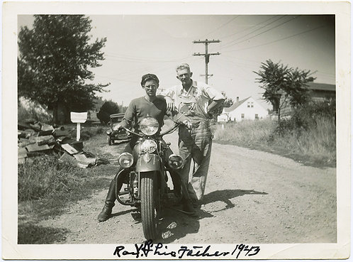 HOT HUNKY EASY BIKE RIDER GUY VINTAGE MOTORCYCLE & FARMER OVERALL-clad DAD