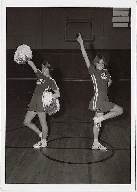LOVELY 70s CHEERLEADING GIRLS on BASKETBALL COURT STRUT STUFF POSE w POM POMS