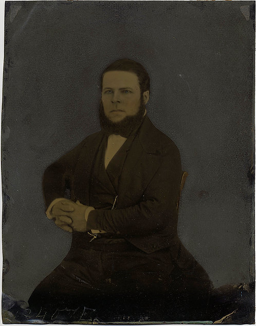 LARGE STRONG PORTRAIT FULL PLATE TINTYPE HAND PAINTED DIGNIFIED MAN