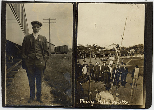 Pauly POLE VAULTS & YOUNG MAN DRESSED UP NEXT to a TRAIN 2 PICS