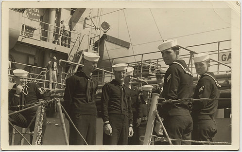 HANDSOME SAILORS LINE UP to PIPE VIP ONBOARD VESSEL SHIP GREAT CAPTION RPPC