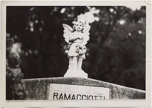 GLORIOUS FUNERAL MONUMENT CUTE ANGEL w WREATH on RAMACCIOTTI HEADSTONE GRAVE