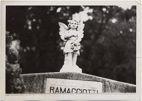 GLORIOUS FUNERAL MONUMENT CUTE ANGEL w WREATH on RAMACCIOTTI HEADSTONE GRAVE