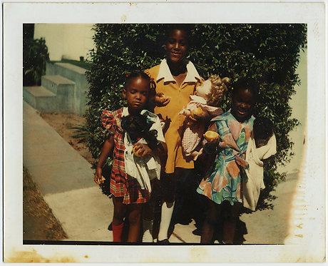 POLAROID 3 CUTE BLACK AFRICAN-AMERICAN GIRLS w WHITE DOLL