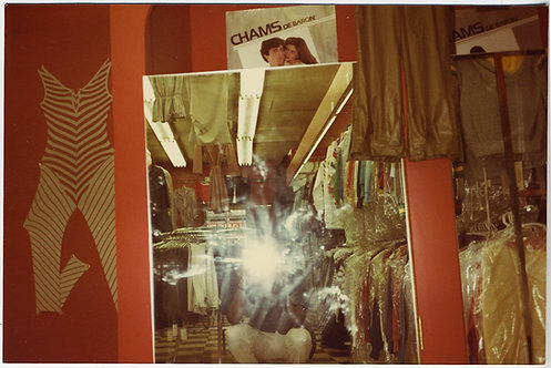 OFF-KILTER COMPLEX COMPOSITION VINTAGE CLOTHING STORE MIRROR & FLASH