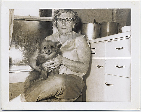UNHAPPY SOLEMN WOMAN in CATS EYE GLASSES with BLANK LOOKING POMERANIAN POLAROID