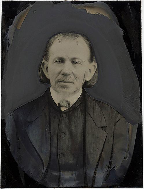 WONDERFUL FULL PLATE TINTYPE HAND PAINTED OLDER DISTINGUISHED MAN FOLK ART