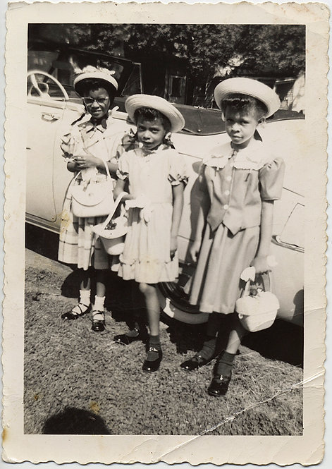 FABULOUS THREE LITTLE AFRICAN-AMERICAN GIRLS in SUNDAY BEST off to CHURCH HAT