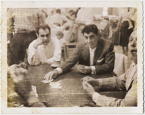 WARY WEARY CARD SHARKS PLAY their CARDS RIGHT SMOKE CIGARS POLAROID