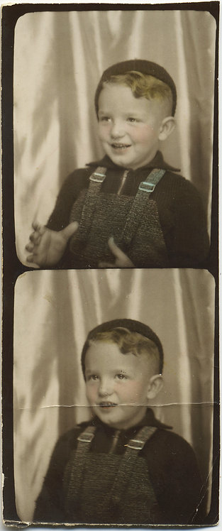 CUTE LITTLE BOY in OVERALLS HAND TINTED COLORED PHOTOBOOTH STRIP