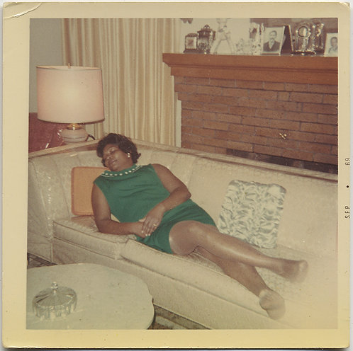 BLACK WOMAN PASSED OUT ASLEEP on PLASTIC COVERED WHIT COUCH MID CENTURY INTERIOR