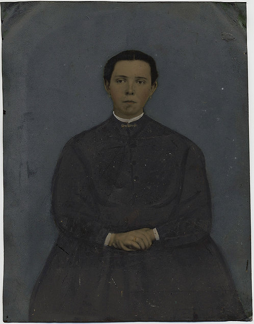 Painted Full Plate Tintype: WOMAN in GREY