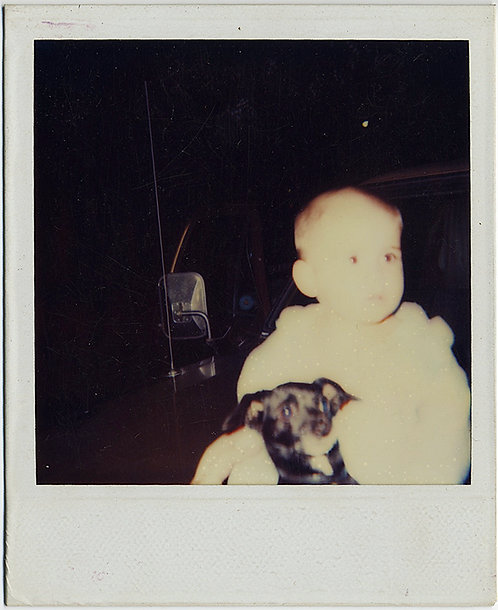 SPOOKY WEIRD FLASH BLANCHED BABY and DOG POLAROID