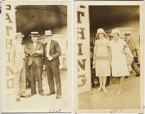 LOVELY MEN & WOMEN at the ENTRANCE to BATHING BATHS 1921 2 pics