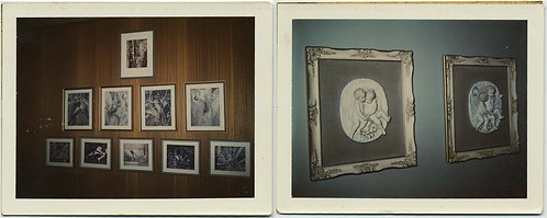 POLAROID DIPTYCH PICTURES & FRAMED KITSCHY CHERUB PLASTER RELIEFS HUNG on WALL