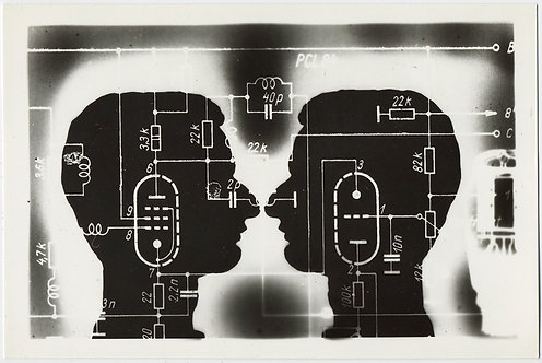 STRANGE PHOTOGRAM TWO SILHOUETTED FACES in PROFILE CIRCUITRY BOARD UNUSUAL