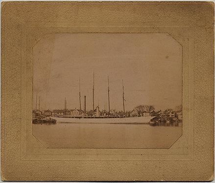 LARGE 4-MASTED SCHOONER SHIP in HARBOR BRISTOL CT