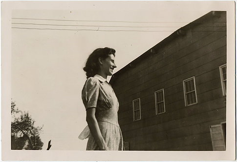 STUNNING PROFILE PORTRAIT BOLD COMPOSITION WOMAN SIDE of BUILDING TELEPHONE WIRE