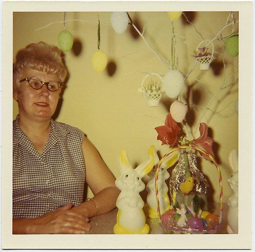 WOMAN w EASTER BUNNY EGGS BASKET & FLASH SHADOWS