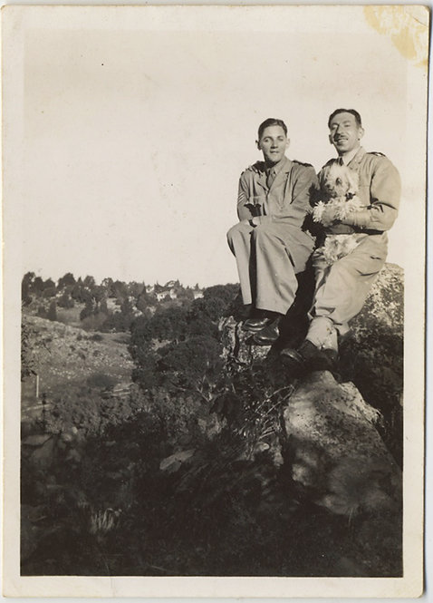 2 INTIMATE MEN w PET DOG REAL? on ROCKY OUTCROP w AWESOME CAPTION GAY INT