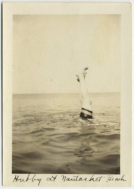 LEGS ALOFT Hubby DOES HANDSTAND in OCEAN WATER SEA at NANTUCKET BEACH CAPTION