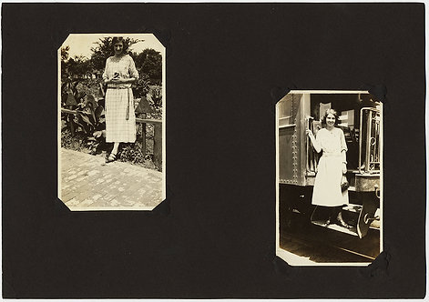 LOVELY ALBUM PAGE w SWEET PORTRAITS of YOUNG WOMEN in GARDEN on TRAIN STEPS