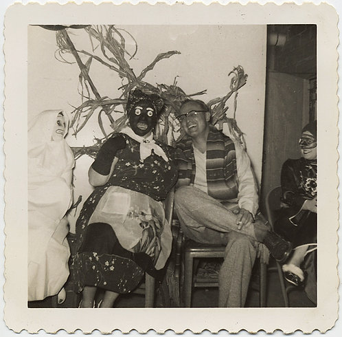 HAUNTING RACIST WOMAN in BLACKFACE MASK w GHOST & LAUGHING MAN at MASKED PARTY