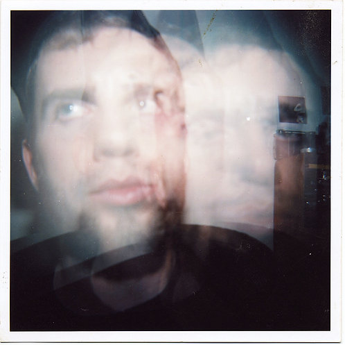 STUNNING VERY LARGE DOUBLE EXPOSURE MOODY MAN'S FACE UNUSUAL