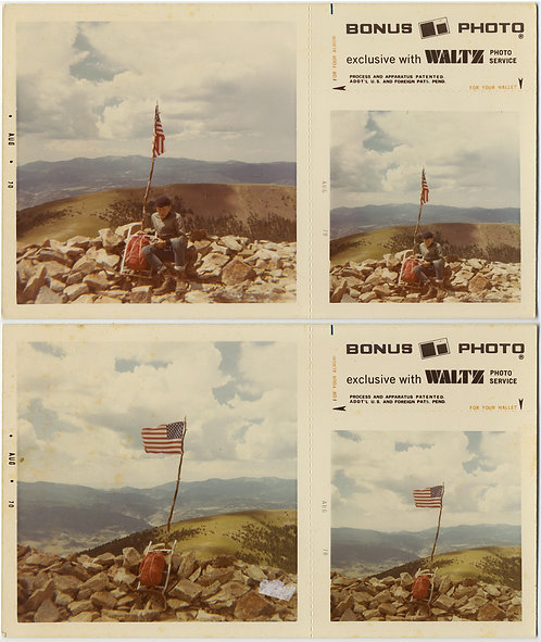 2 pics BONUS PICTURES US FLAG WAVES OVER MOUTAIN SUMMIT & WEARY HIKER