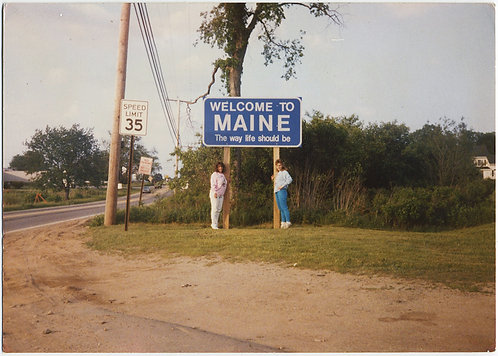 WELCOME to MAINE SIGN STATE LINE MARKER