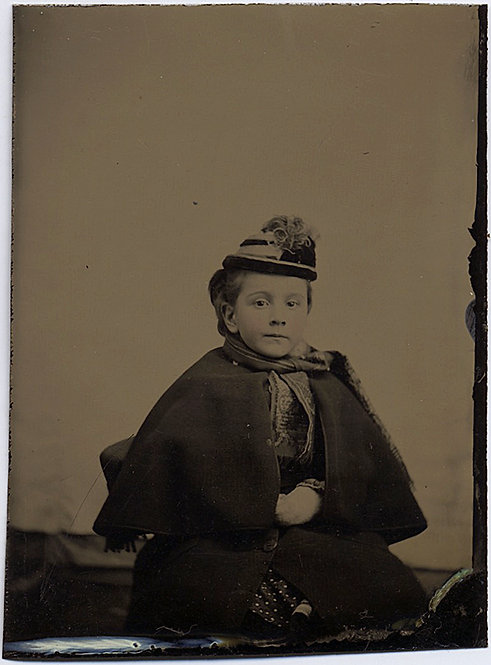 GORGEOUS CUTE CHILD in LOVELY TINTYPE WEARING TRAVELING CLOTHES CAPE HAT