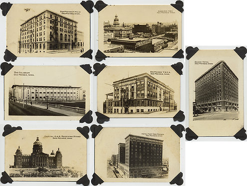 DES MOINES VINTAGE CITY BUILDINGS YWCA YMCA HOTELS TOURIST VIEWS 7 pics SIGNAGE