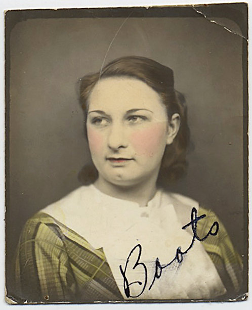 LOVELY PAINTED HAND TINTED PHOTOBOOTH of YOUNG WOMAN NAMED BOOTS!