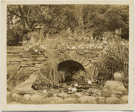 GORGEOUS GARDEN w STONE BRIDGE FLOWERS LILLY POND w LILLIES