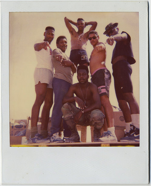 AMAZING POLAROID POSSE of YOUNG BLACK MEN POSE ATTITUDE to SPARE GROUP PORTRAIT