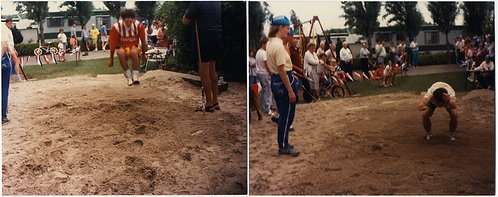 In for the LONG JUMP! IN the AIR & TOUCH DOWN in SAND PIT 2 pics