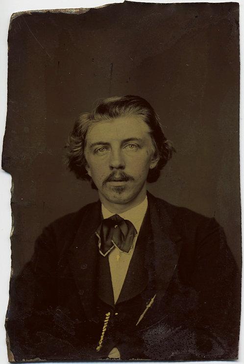 GORGEOUS RICH-TONED PORTRAIT of DAPPER HANDSOME MAN Your TINTYPE BOYFRIEND