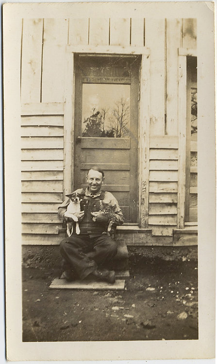 HAPPY FARMER OVERALLS PROUDLY HOLDS KITTY CAT & DOG PUPPY PETS WIFE BEHIND DOOR
