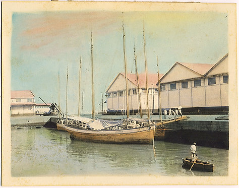GORGEOUS HAND TINTED HARBOR with BOATS and FISHERMEN CUBA? RIO?