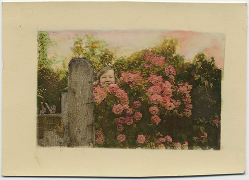EXQUISITE HAND TINTED COLORED WOMAN AMONG FLOWER BUSHES in GARDEN