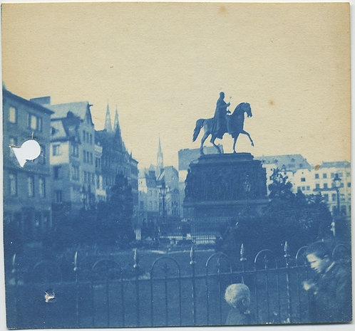 GRAND TOUR COLOGNE/KOLN EQUESTRIAN STATUE! CYANOTYPE