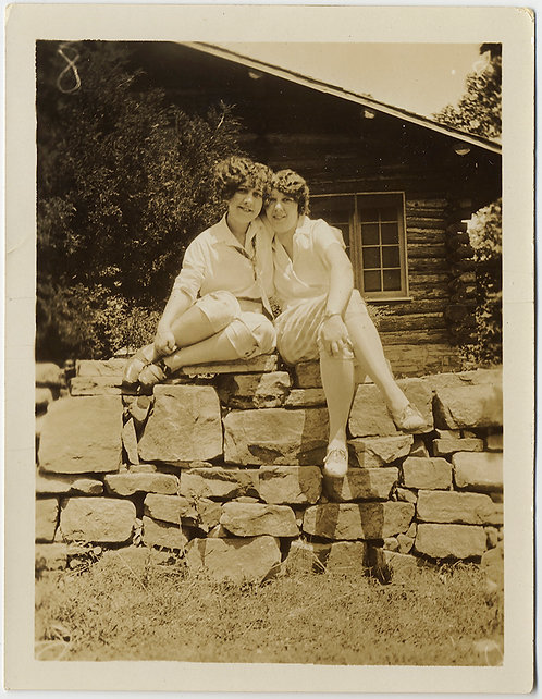 FABULOUS WOMEN BEING INTIMATE TOGETHER PERCH on ROCK WALL LOVELY!