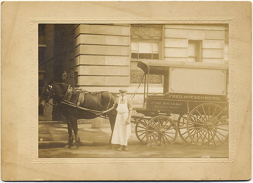 SUPERB CARD MOUNTED GROCER DELEVRY BOY WAGON & HORSE OLD NY Boesenberg Broadway