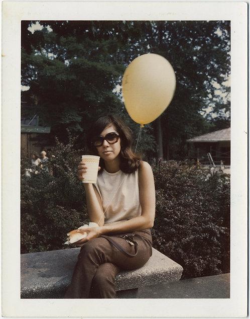 WOMAN in STYLISH SUNGLASSES EATS SANDWICH DRINKS SODE w YELLOW BALLOON POLAROID