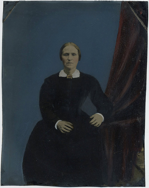 Painted Full Plate Tintype: WOMAN AGAINST BLUE BACKGROUND