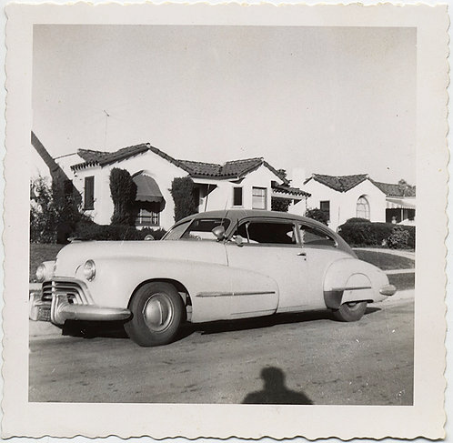 LOVELY VINTAGE CAR PARKED on SUBURBAN STREET w SHADOW of PHOTOGRAPHER