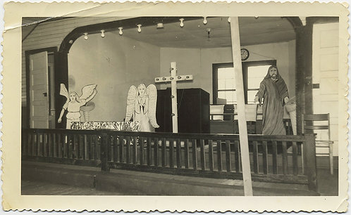 DOWN HOME NO FRILLS AFRICAN AMERICAN CHURCH w LIGHT BULB CRUCIFIX JESUS ANGELS