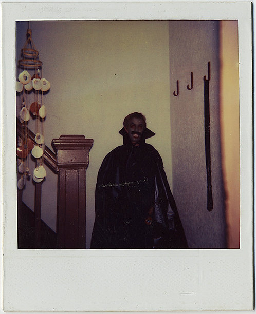 MAN in DARK MAKEUP DRACULA COSTUME HOLLOWEEN POLAROID