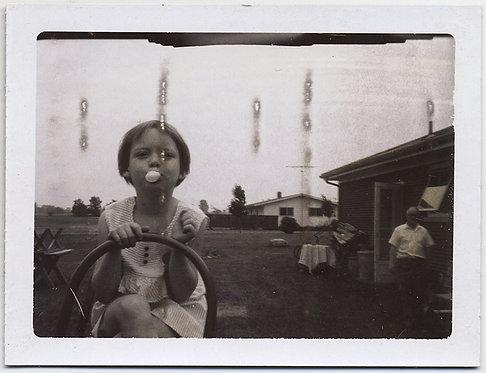 LITTLE GIRL at WHEEL of TRACTOR? POPS BUBBLEGUM BUBBLE DISTRESSED POLAROID