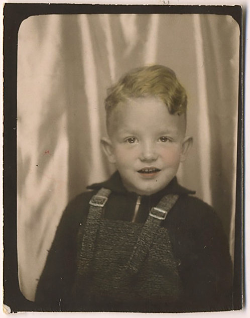 SWEET LITTLE BOY w GOLDEN BLONDE YELLOW HAIR HAND TINTED OVERALLS PHOTOBOOTH